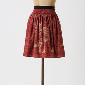 Anthropologie Wooded Hideaway Skirt in Red Fox
